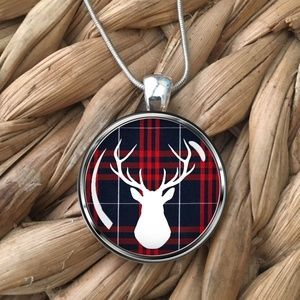 Jewelry - Deer on Plaid Pendant Necklace